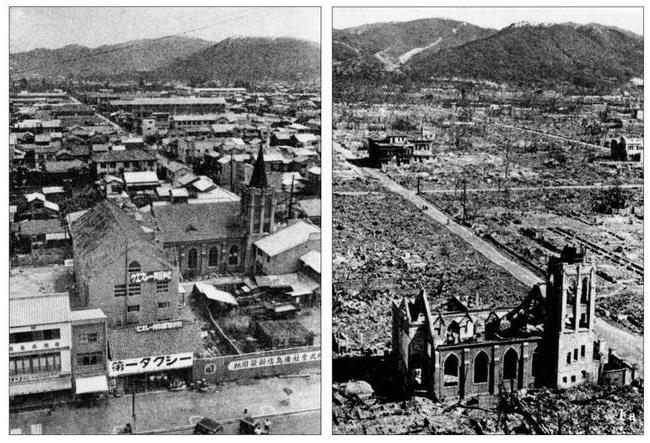 ناکازاکی قبل و پس از بمباران اتمی