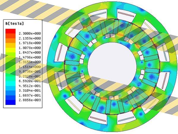 توزیع چگالی شار در موتور ورنیر با ساختار اولیه