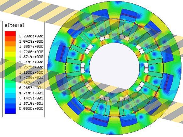 توزیع چگالی شار در موتور ورنیر با ساختار پیشنهادی