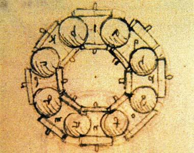 نقاشی لئوناردو دا وینچی (۱۴۵۲–۱۵۱۹) مطالعه بر روی یک بلبرینگ