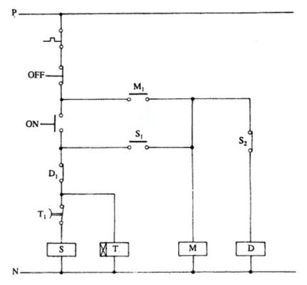 مدار قدرت استارتر ستاره-مثلث اتوماتیک انتقال مدار باز