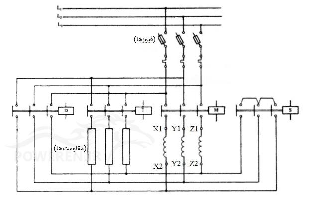 مدار قدرت راهانداز ستاره-مثلث اتوماتیک انتقال مدار بسته