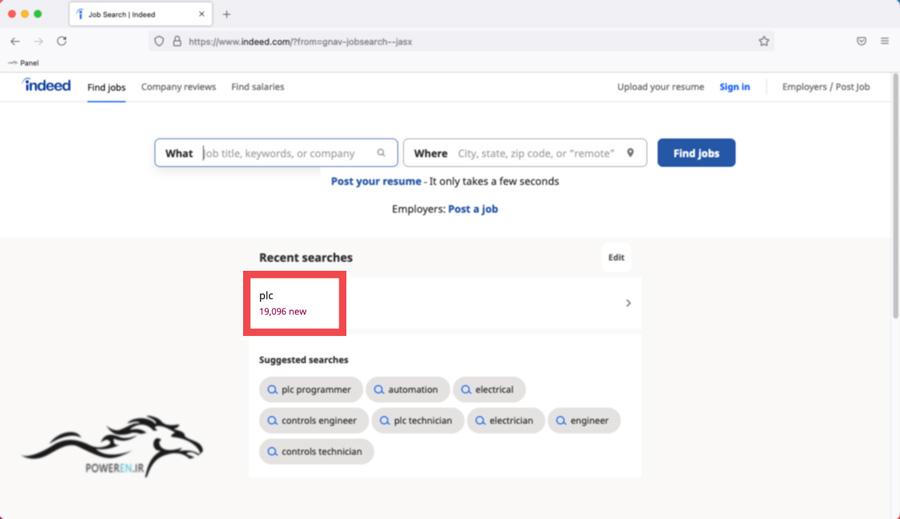 تعداد درخواست استخدامی PLC در indeed.com